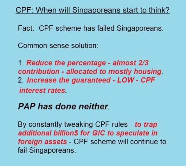 CPF WILL SINGAPOREANS START TO THINK